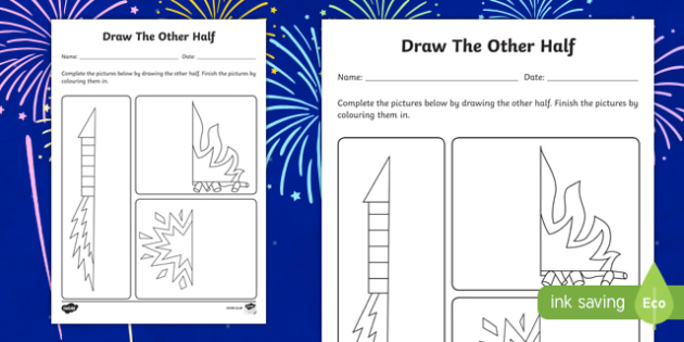 Bonfire Night Draw the Other Half Worksheet / Activity Sheet