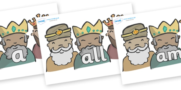Foundation Stage 2 Keywords on Three Kings - FS2, CLL, keywords, Communication language and literacy,  Display, Key words, high frequency words, foundation stage literacy, DfES Letters and Sounds, Letters and Sounds, spelling
