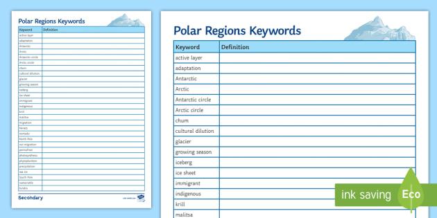 Polar Regions Keywords Worksheet / Activity Sheet - Polar