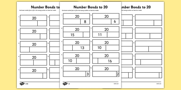 T N 4857 Bar Modelling Number Bonds to 20 Differentiated Activity Sheets