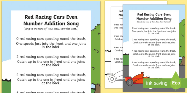 Red Racing Car Even Number Song - singing, song time, maths, mathematics