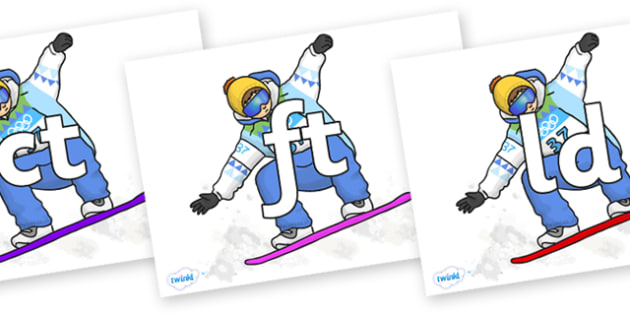 Final Letter Blends on Snowboarding - Final Letters, final letter, letter blend, letter blends, consonant, consonants, digraph, trigraph, literacy, alphabet, letters, foundation stage literacy