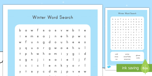 Winter, Word Search, Find, Literacy