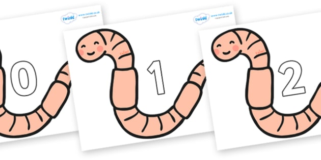 Numbers 0-31 on Earthworms - 0-31, foundation stage numeracy, Number recognition, Number flashcards, counting, number frieze, Display numbers, number posters