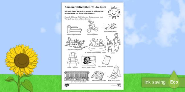 Sommerferien Aktivitäten To-do-Liste Arbeitsblatt Lesen und