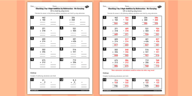 Year 3 Inverse Checking 3 Digit by 3 Digit Addition by Subtraction (No Carrying) Activity Sheet - no remainder, no remaining