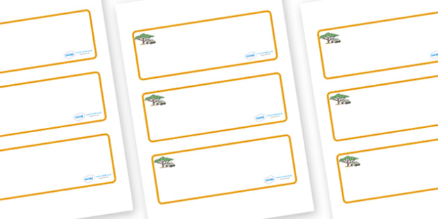 Safari Themed Editable Drawer-Peg-Name Labels (Blank) - Themed Classroom Label Templates, Resource Labels, Name Labels, Editable Labels, Drawer Labels, Coat Peg Labels, Peg Label, KS1 Labels, Foundation Labels, Foundation Stage Labels, Teaching Label
