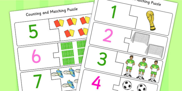 Football World Cup Themed Counting Matching Puzzle - count, match