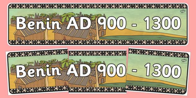 Benin AD 900 1300 Display Banner - header, history, KS2, display