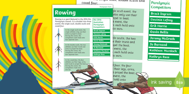 Australia Rio Paralympics 2016 Rowing Display Poster