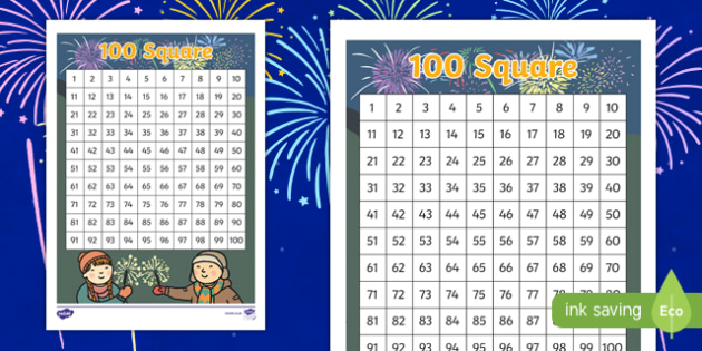 Bonfire Night Themed 100 Number Square