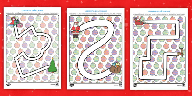ărbătoarea Crăciunului - Traiectorie pentru exersarea manipulării creionului - crăciun, controlul creionului, manipularea creionului, română, fișe, materiale, activități, Ro