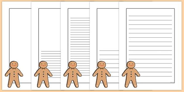 Gingerbread Man Portrait Page Borders Portrait Page Borders Page