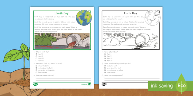 First Grade Earth Day Reading Passage Comprehension Activity