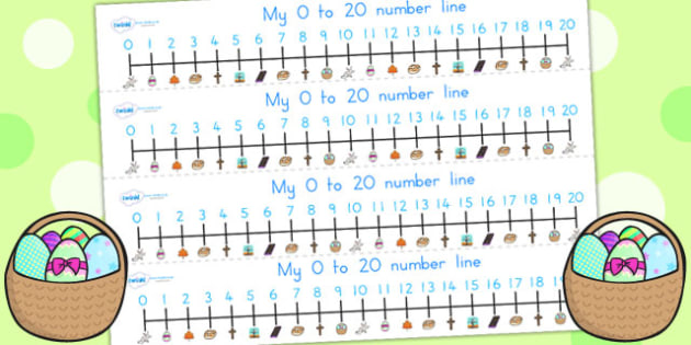 Easter Number Line 0 20 - easter, numeracy, number line, 0-10