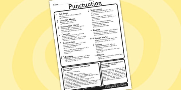 Punctuation Worksheet - punctuation, worksheet, literacy, english