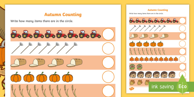 My Counting Worksheet Autumn Counting Worksheet Autumn