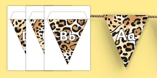 Jaguar Pattern Themed Alphabet Bunting - jaguar, pattern, alphabet, bunting