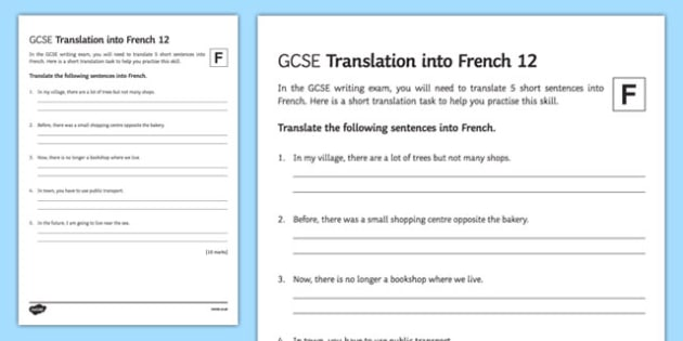 GCSE French: Translation into French Foundation Tier Activity Sheet 12-French, worksheet