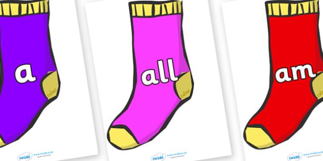 Foundation Stage 2 Keywords on Socks - FS2, CLL, keywords, Communication language and literacy,  Display, Key words, high frequency words, foundation stage literacy, DfES Letters and Sounds, Letters and Sounds, spelling