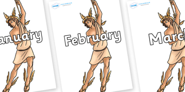Months of the Year on Hermes - Months of the Year, Months poster, Months display, display, poster, frieze, Months, month, January, February, March, April, May, June, July, August, September