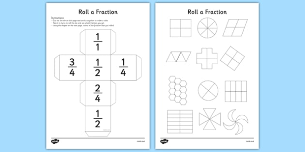 Roll a Fraction: Half, Quarter and Two Quarters - Fraction, half, quarter, three quarters, two quarters, equivalent fraction