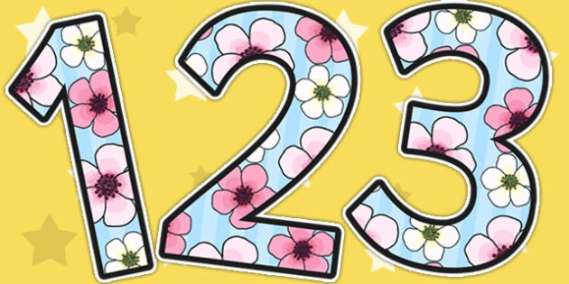 Blossom Themed Display Numbers - blossom, display, number, spring