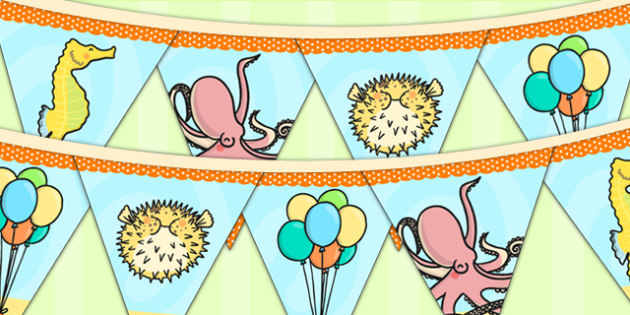 Under the Sea Themed Birthday Party Picture Bunting - birthdays