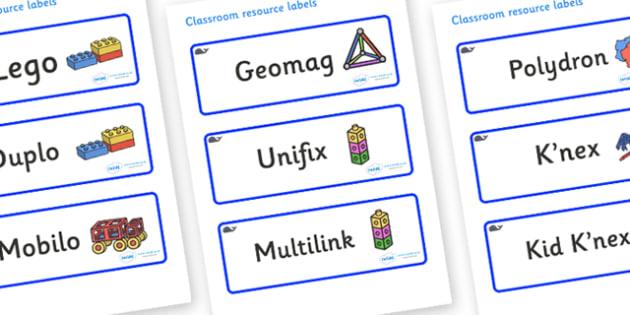 Blue Whale Themed Editable Construction Area Resource Labels - Themed Construction resource labels, Label template, Resource Label, Name Labels, Editable Labels, Drawer Labels, KS1 Labels, Foundation Labels, Foundation Stage Labels