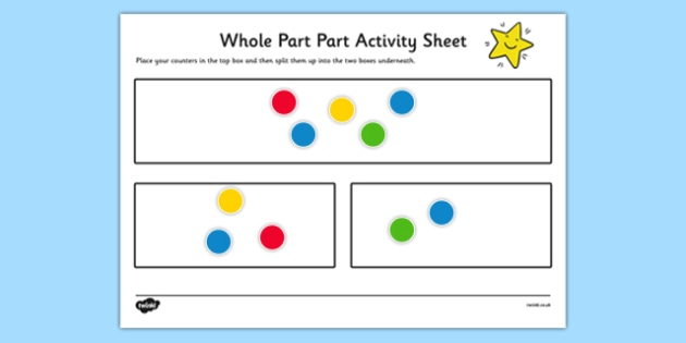 Whole Part Part Activity Sheet - whole, part, fractions, activity, sheet, game, visual aid, worksheet