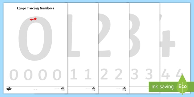 FREE! - Large Tracing Numbers - education, home school