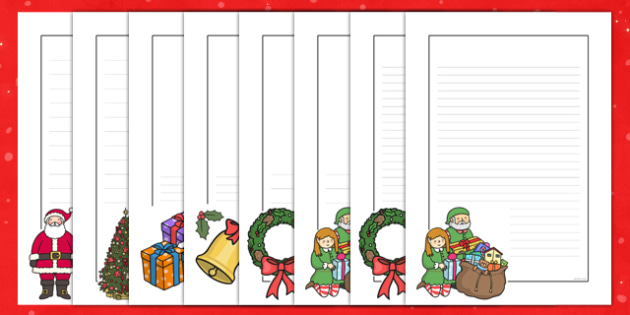 Christmas Page Borders - Christmas, xmas, page border, tree, advent, nativity, santa, father christmas, Jesus, tree, stocking, present, activity, cracker, angel, snowman, advent , bauble,  a4 border, template, writing aid, writing border, page templa