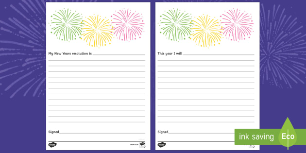 new years resolution pledge writing template