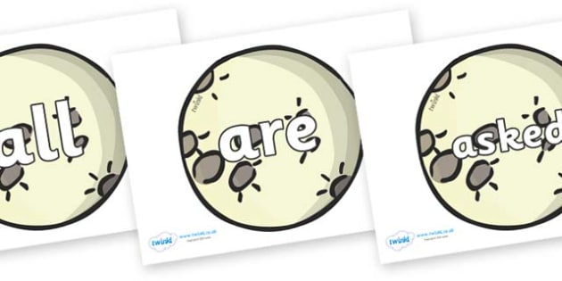 Tricky Words on The Moon - Tricky words, DfES Letters and Sounds, Letters and sounds, display, words