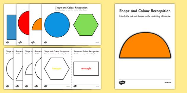 Shape and Colour Recognition Activity Sheet Pack - shape, colour, recognition, activity, sheet, worksheet