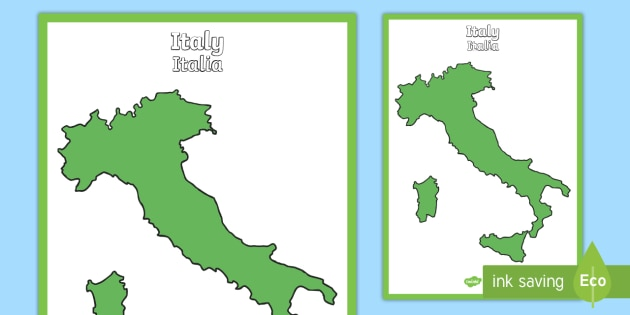 Map Of Italy In English.Blank Map Of Italy Display Poster English Italian Large Blank Map