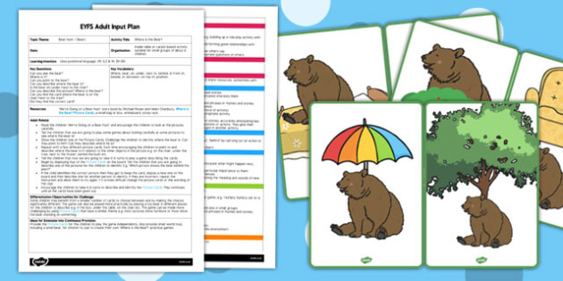 Where Is the Bear? EYFS Adult Input Plan and Resource Pack - picture cards