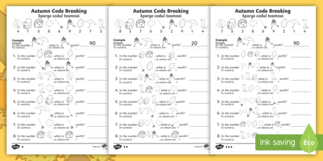 Autumn-Themed Place Value Code Breaking Activity Sheets English/Romanian - hundreds, tens, ones, EAL, worksheets, maths, challenge, problem solving, reasoning,  - hundreds, tens, ones, EAL, worksheets, maths, challenge, problem solving, reasoning,