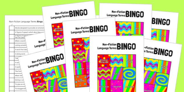 Non-Fiction Language Terms Bingo - non-fiction, language, terms, bingo