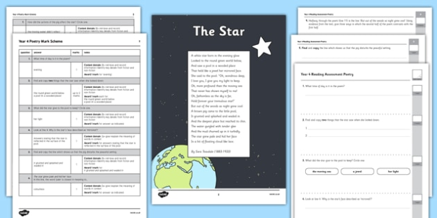 Year 4 Reading Assessment: Poetry Term 1 - reading, assessment, poetry