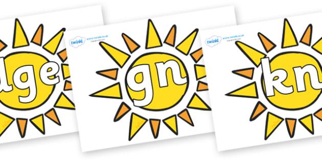 Silent Letters on Sun - Silent Letters, silent letter, letter blend, consonant, consonants, digraph, trigraph, A-Z letters, literacy, alphabet, letters, alternative sounds