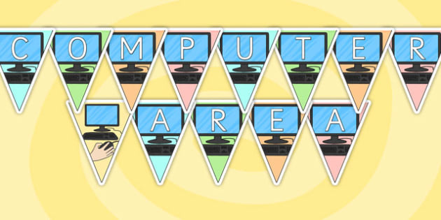 Computer Area Display Bunting - computer area, bunting, themed bunting, display bunting, bunting flags, flag bunting, cut out bunting, paper bunting
