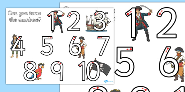 Pirate Themed Number Formation 1-10 Worksheet / Activity Sheet - pirate, number formation, 1-10, activity, worksheet, overwriting
