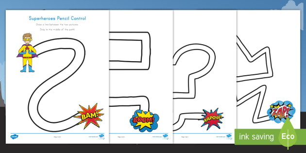 new superheroes pencil control activity sheets early childhood fine. Black Bedroom Furniture Sets. Home Design Ideas