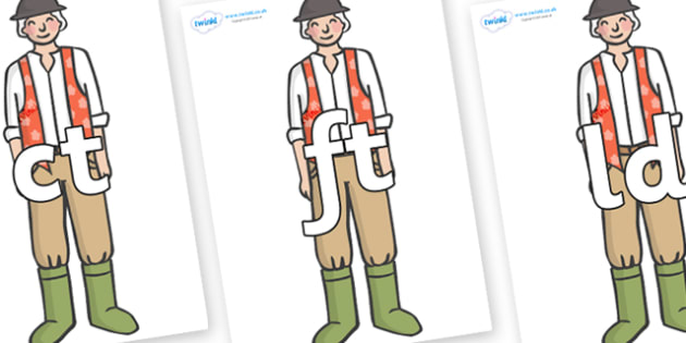 Final Letter Blends on Farmer to Support Teaching on Pig in the Pond - Final Letters, final letter, letter blend, letter blends, consonant, consonants, digraph, trigraph, literacy, alphabet, letters, foundation stage literacy