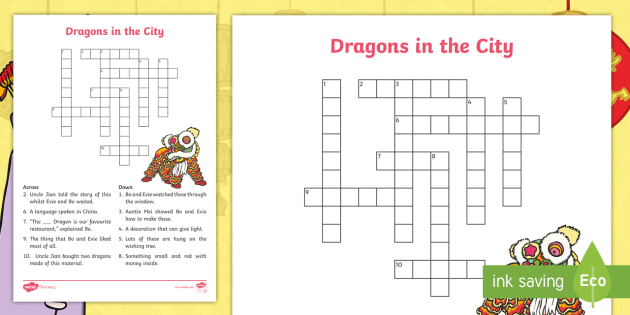Dragons In The City Chinese New Year Crossword