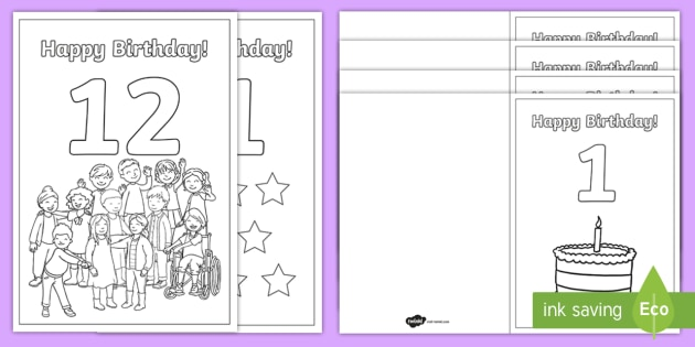 Coloring Birthday Cards Ages 1 To 12 (teacher Made)