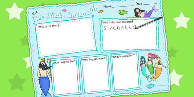 The Little Mermaid Story Review Writing Frame Writing Aids