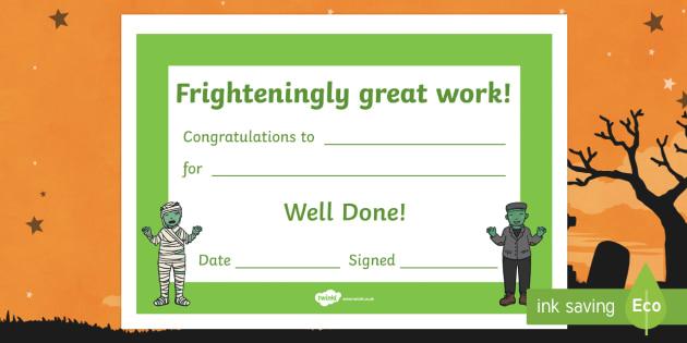 Frighteningly Great Work Halloween Certificate
