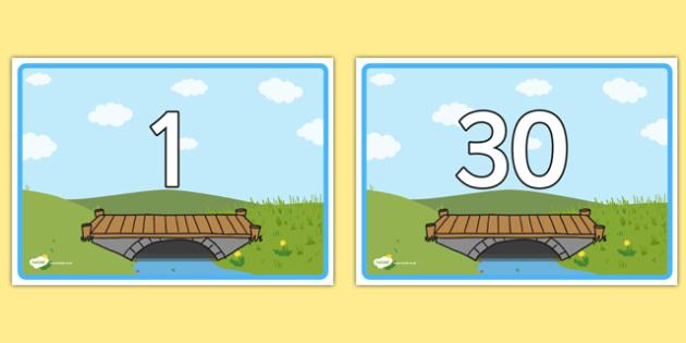 Bridge Themed Display Posters Numbers 1-30 - bridge, display, posters, themed, numbers, 1-30